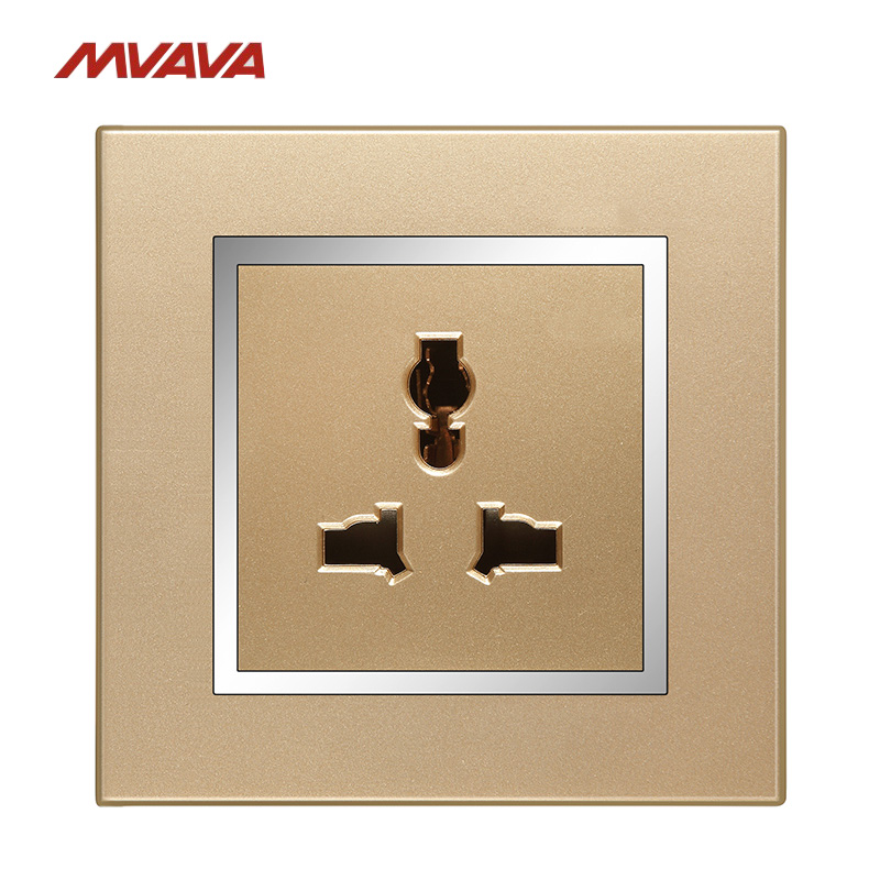 MVAVA 10A Multifunction Outlet Wall Power Universal 3 PIN Socket Plug Decorative Receptacle Luxury PC Chromed Gold Free Shipping 2018 hot sale 6 pin multifunction socket wallpad luxury wall switch panel plug socket 118 72mm 10a 110 250v