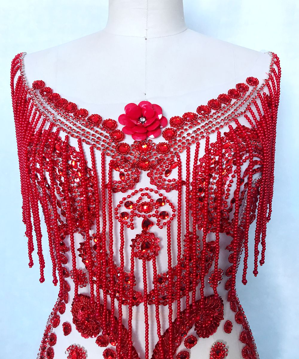 Pure hand made sew on silver/red/black Rhinestones applique on mesh shining crystals patches trim 57*40cm for dress accessory