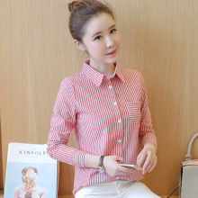 New Cotton Checkered Plaid Blouses 2017 New Shirt Cage Female Long Sleeve Casual Slim Women Stripe Pocket Shirt Office Lady Tops