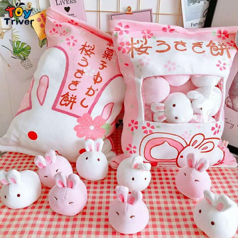 Kawaii Rabbit Wagashi Plush Toy Triver Plushie Stuffed Animals Doll Baby Kids Girls Children Birthday Gift Room Decorations