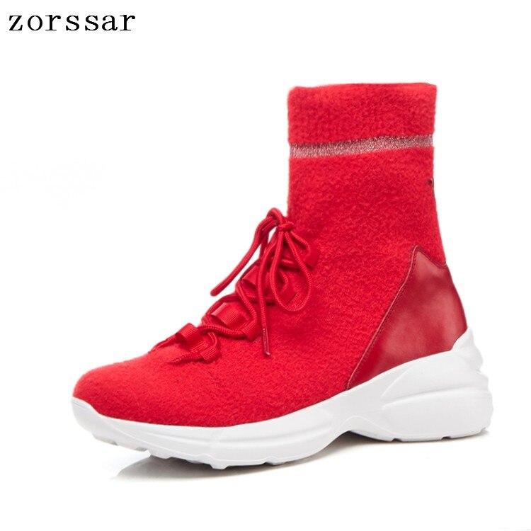 top Sneakers Femmes Chaussette Chaussures Noir Haute Élastique {zorssar} Bottes Nouvelles Cheville De 2019 Up Plat Lace Mode rouge Haute E9IW2DHY