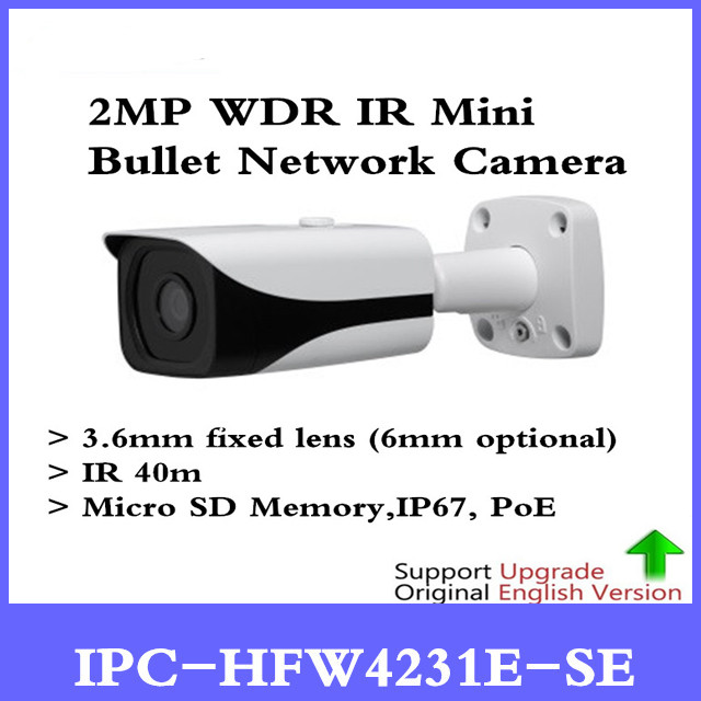 DH Original IPC-HFW4231E-SE 2MP H.265 POE IP67 WDR IR Mini Bullet Network Camera IPC-HFW4231E-S IR 40m IP Camera Without Logo цена 2017