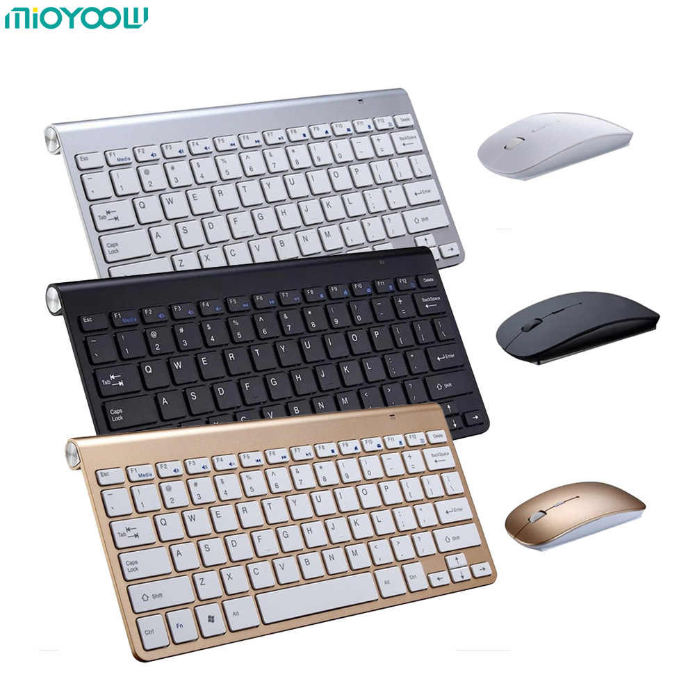 Portabel Bisu Tombol Keyboard 2.4G Ultra Slim Wireless Keyboard & Mouse Set Untuk Mac Win XP 7 10 Vista Android TV Box