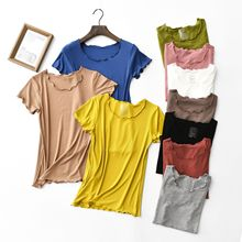 High Elastic Ribbed Cotton Vintage Wood ears O neck Short sleeve T-shirt New Woman Slim Fit t shirt tight tee Summer Retro Tops whipstitch trim ribbed tee