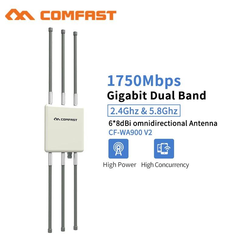 Comfast 1750 Mbps double bande 5 Ghz haute puissance extérieure AP 360 degrés couverture omnidirectionnelle Point d'accès Wifi Base Station WA900V2