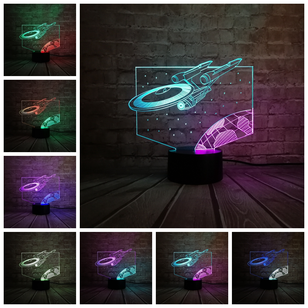 Cartoon Mixed Color 3D Lights Lamp Star Wars Airship Trek Decor Bulb Led Home Table Night Light Child Gift Multicolor Luminaria