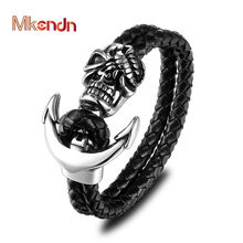 MKENDN New Fashion Men Genuine Leather Skull Anchor Bracelets Rock Punk Stainless steel Charms Cuff Bracelets Bangles(China)