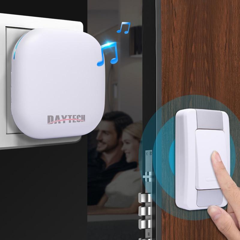 DAYTECH Wireless DoorBell Ring Door Bell 1 Plugin Receiver LED Indicator 1 Push Button Remote Outdoor Waterpoof все цены