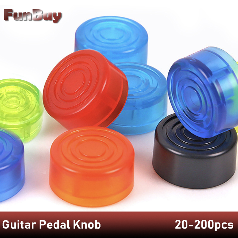 20 200pcs Guitar Effect Pedal Foot Nail Cap Candy Color Foot Switch Toppers Knob Plastic Bumpers