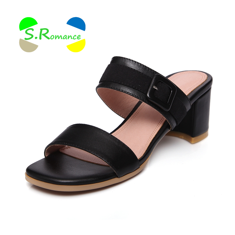 S.Romance Women Slippers Genuine Leather Sandals Size 34-43 Buckle High Square Heels Women's New Fashion Summer Shoes SS087