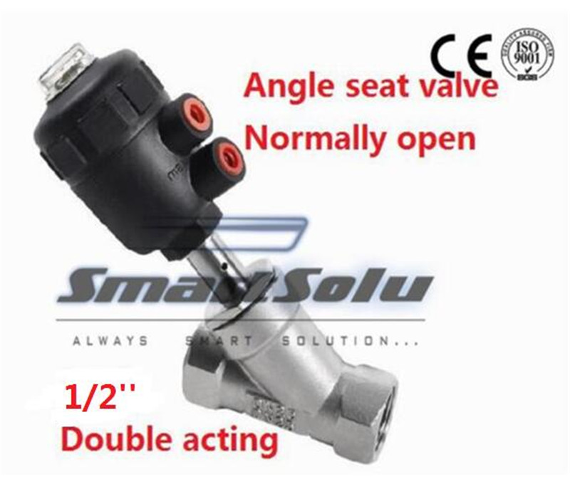Free shipping angle seat valve actuators DN15 1/2 inch normally open double acting high temperature ss304 body valve free shipping pneumatic actuators plastic angle seat valve dn25 1 inch normally close double acting high temperature valve