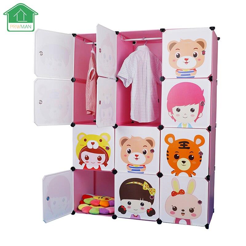 PRWMAN 12 Cube 2PC Hooks Cartoon Pink DIY Magic Piece of Resin Storage Cabinets Bedroom Wardrobe Furniture Student Home Wardrobe нивелир ada cube 2 360 home edition a00448