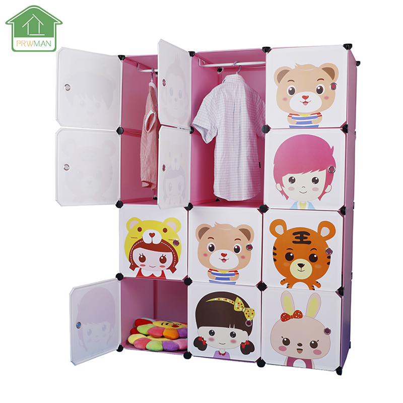 PRWMAN 12 Cube 2PC Hooks Cartoon Pink DIY Magic Piece of Resin Storage Cabinets Bedroom Wardrobe Furniture Student Home Wardrobe