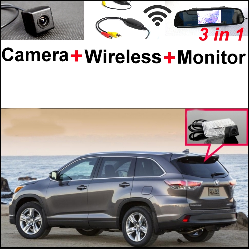 Wireless Receiver + 3 in1 Special Rear View Camera + Mirror Monitor Backup Parking System For TOYOTA Kluger XU50 2013 2014 2015 wireless pager system 433 92mhz wireless restaurant table buzzer with monitor and watch receiver 3 display 42 call button