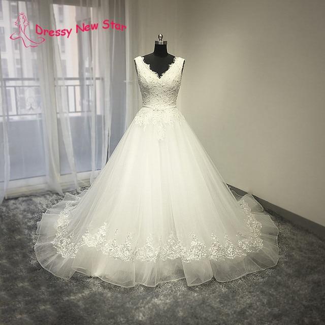 Blanco hermoso Vestido de Novia con el Tren Largo Cuello En V y ...