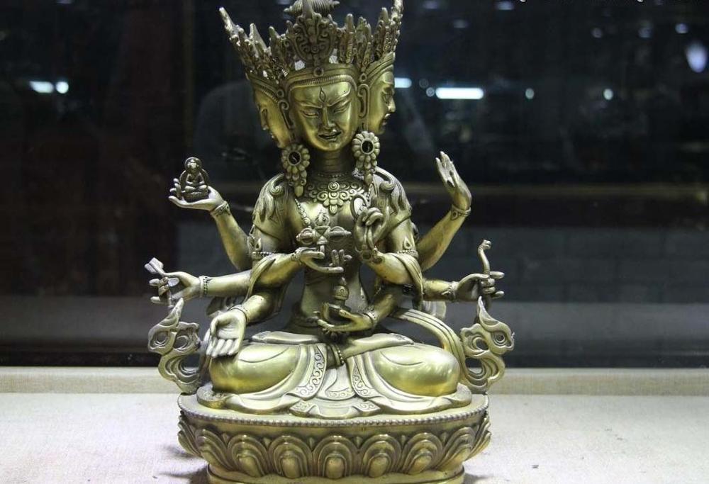 Tibet Brass Copper 4 Head 8 Arms Namgyalma Ushnishavijaya Guan Yin Buddha Statue