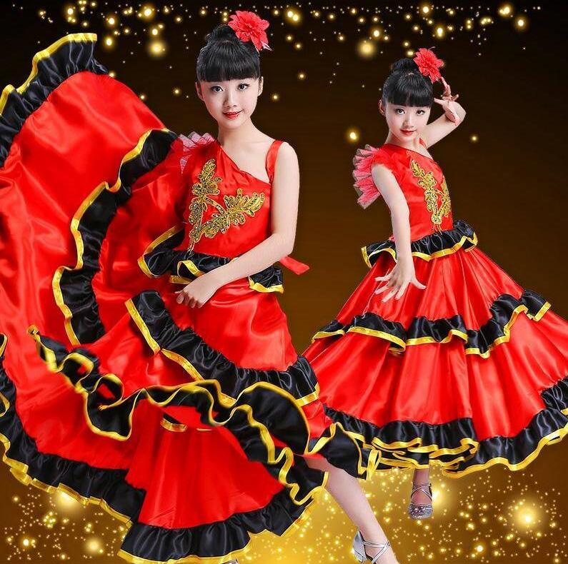 2019 Kids Flamenco Skirts Spanish Flamenco Dance For Girl Spanish Senrite Flamenco Dancer Fancy Dress Costume