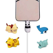 Leuke Chompers Kabel Animal Kabel Protector Organizer Beheer Hond Kat Winder Telefoon houder Voor IphoneX 10 8 7 6 s plus 6(China)