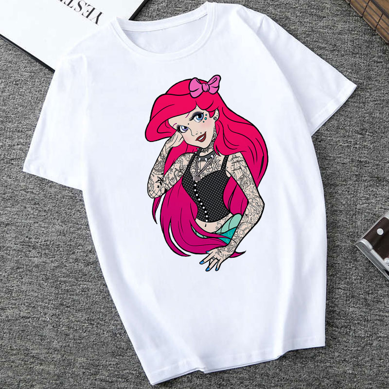 CZCCWD Summer Tops For Women 2019 Harajuku Thin Section Fashion   T     Shirt   Funny Tattoo Princess Streetwear Leisure Printed Tshirt