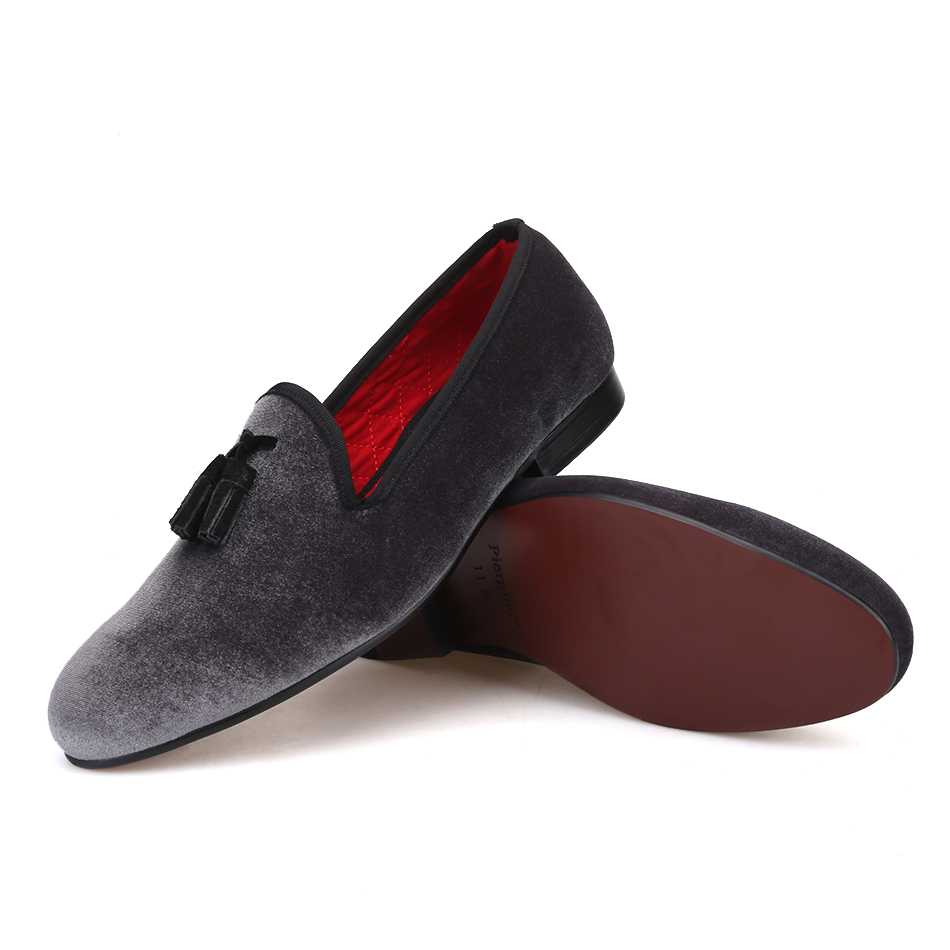 375615ebb8f Piergitar 2018 New style Handmade Loafers Gray velvet Men shoes with Black  suede tassel Fashion Party dress shoes men's flats-in Formal Shoes from  Shoes on ...