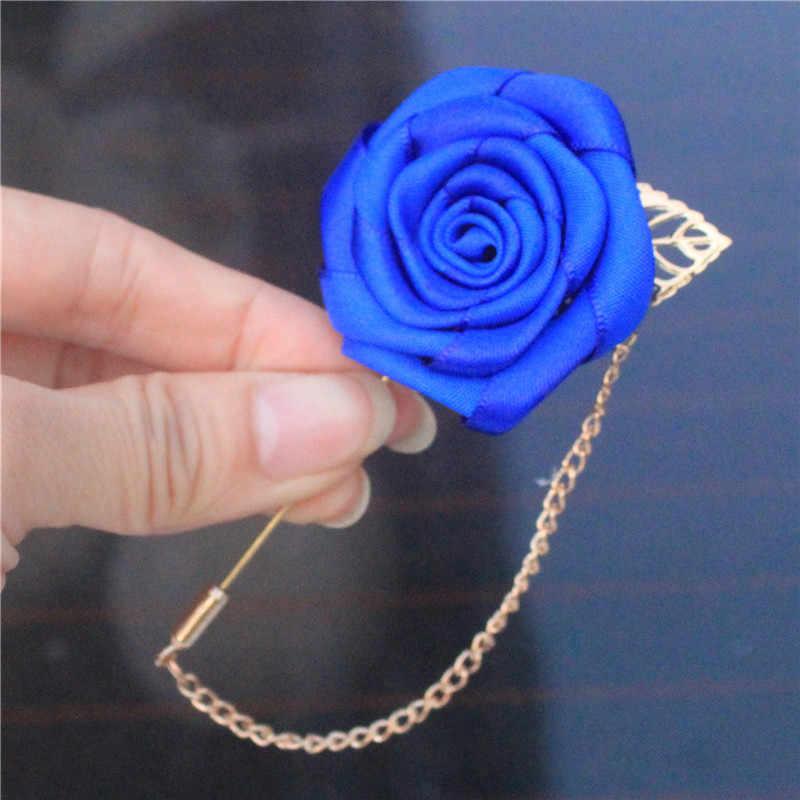 Wifelai-dengan Harga Murah Royal Blue Satin Bunga Korsase Pengantin Pria Golden Leaf Rantai Bridal Pesta Pernikahan Lubang Kancing Pin Bros XH1000