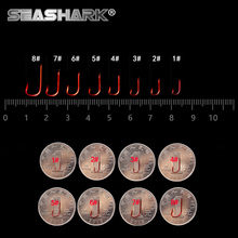 SEASHARK  100pcs/lot Carbon Steel Fishing Hook  red &golden Jig Hooks 1#2#3#4#5#6#7#8#Fishhooks Barbed Hook & Non-barb Hook