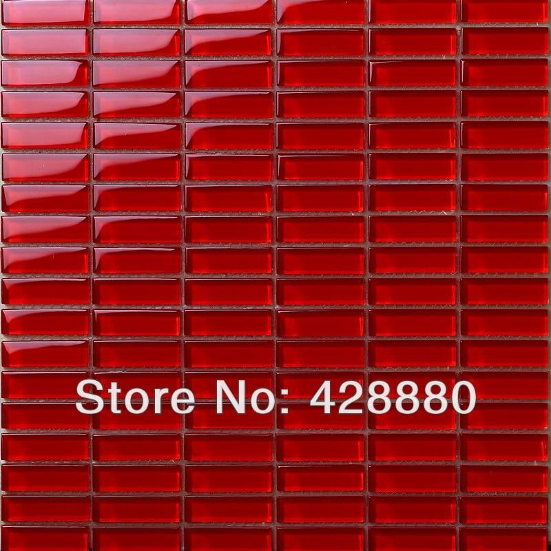 Fogli piastrelle di vetro mosaico rosso mattonelle di - Striscia di mosaico in bagno ...