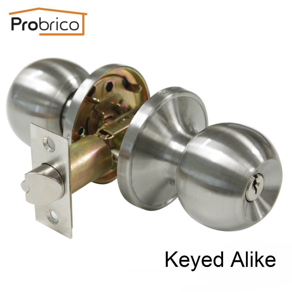 Probrico Keyed Alike Door Lock Stainless Steel Safe Lock Satin Nickel Entrance Locker Door Handle Knob DL607SNET-Combo цена