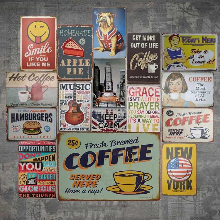 ISHOWTIENDA Vintage Metal znak blaszany plakat tablica Bar Pub Club Cafe na bazie ściany sztuka dekoracyjna plakat dekoracje barowe Decor