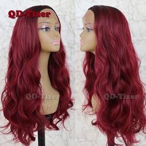 Image 5 - QD Tizer שיער תחרה מול פאת בלונדינית Ombre שיער חום שורש טבעי Glueless סינטטי תחרה קדמית נשים