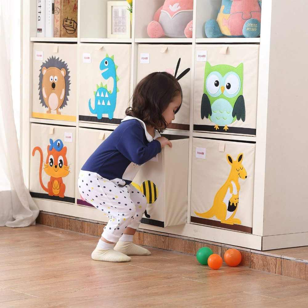 33*33*33cm Cube Storage Box Cartoon Animal Pattern Folding Large Laundry Basket for Sundries kid Clothes Toy Storage organizer