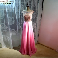 Vestido formatura2017 new Scoop collar crystal hat sleeves A line rose red prom dresses long real photo galajurken