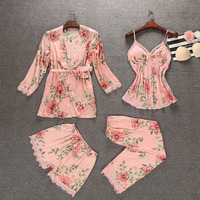 Flower satins silk pajamas sets women sexy robes 4 piece suits women Spaghetti straps sleep lounge robes+top+shorts+long pants