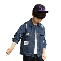 Boys Jeans Jackets Autumn Ripped Coats For Boys Denim Jackets Casual Letters Kids Outerwear School Children