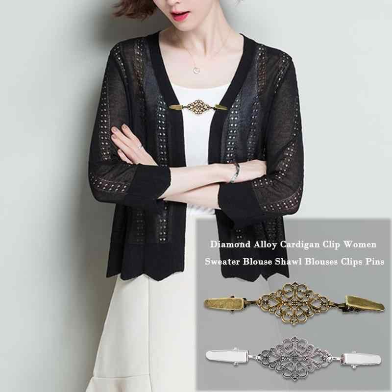 ファッション女性カーディガンセーターブラウスピンショールブローチクリップシャツ襟レトロアヒルクリップ冬スカーフクラスプ