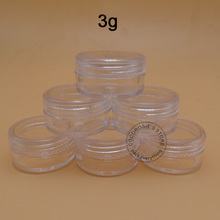 (300 pieces/lot) 3g empty cosmetic containers round cosmetic jars refillable jars with transparent color sample packaing 3g cream galley proof bottle box on trial dress transparent cjb01 empty cans cosmetic sample containers cjb01