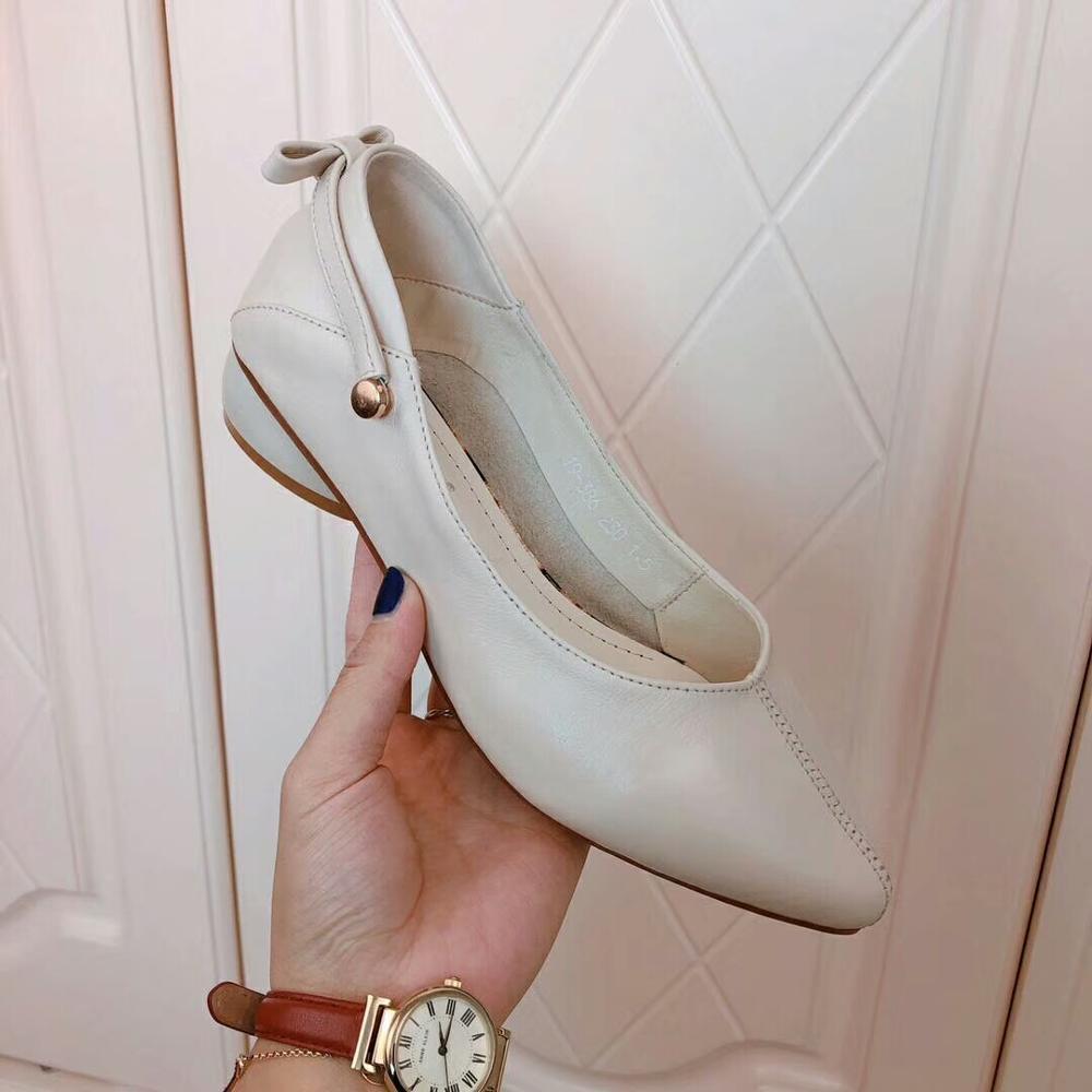 2019 Stil Frühling 5 Full Natürliche Mode Schuhe Dame Cm Ferse Neue Leder Schwarz Weiche Grain 2 wgXqr1g