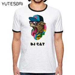 Hot fashion short music dj cat printed funny t shirt men tops summer spring brand clothing.jpg 250x250