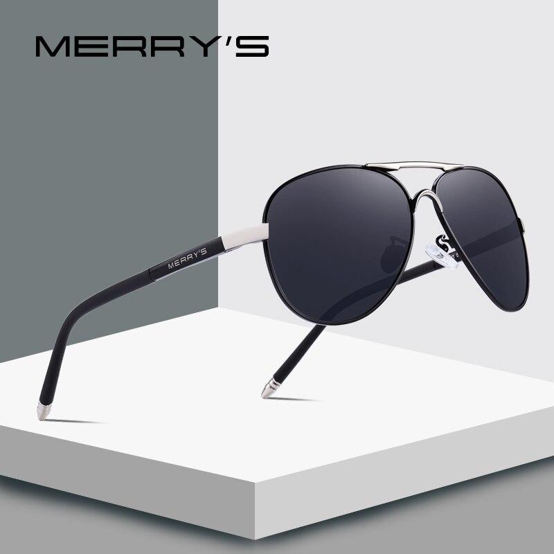 MERRY'S Mannen Classic Pilot Zonnebril HD Gepolariseerde Aluminium Rijden zonnebril Luxe Shades UV400 S'8513