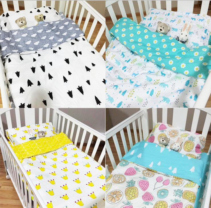 Fitted sheet baby Hot Crib Bed Linen 3pcs Baby crib Bedding Set Include Pillow Case+Bed Sheet+Duvet Cover Without Filling beauty watercolor maple leaf cotton and linen pillow case(without pillow inner)
