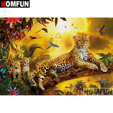 HOMFUN 5D DIY Diamond Painting Full Square/Round Drill Animal leopard 3D Embroidery Cross Stitch gift Home Decor A03910