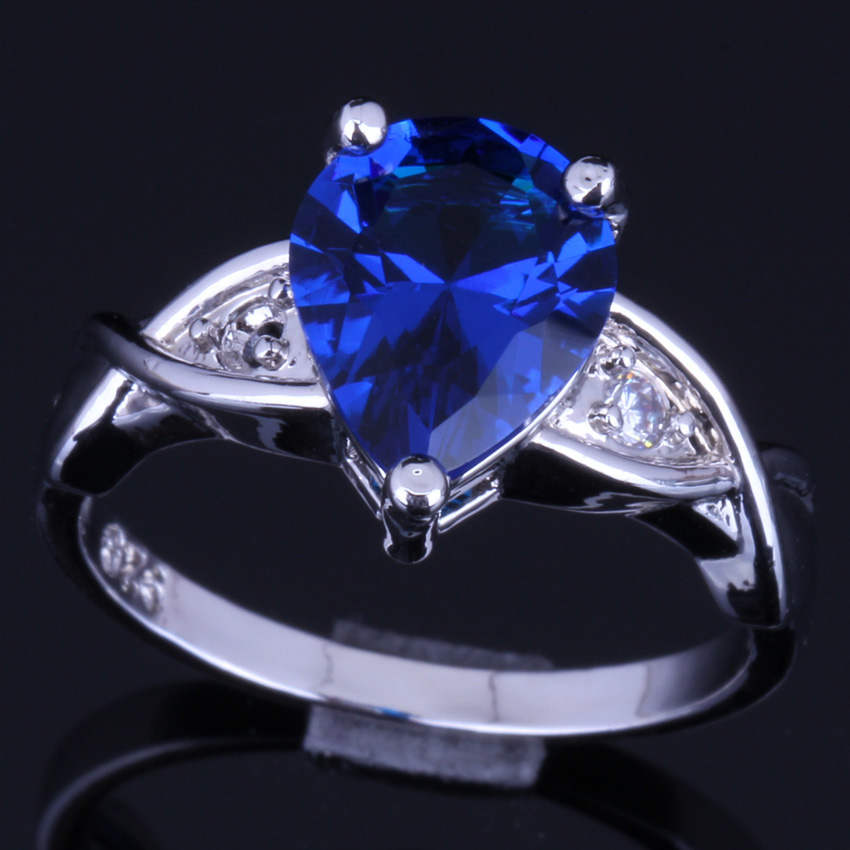 Exquisite Pear Blue Cubic Zirconia White CZ 925 Sterling Silver Ring For Women V0109