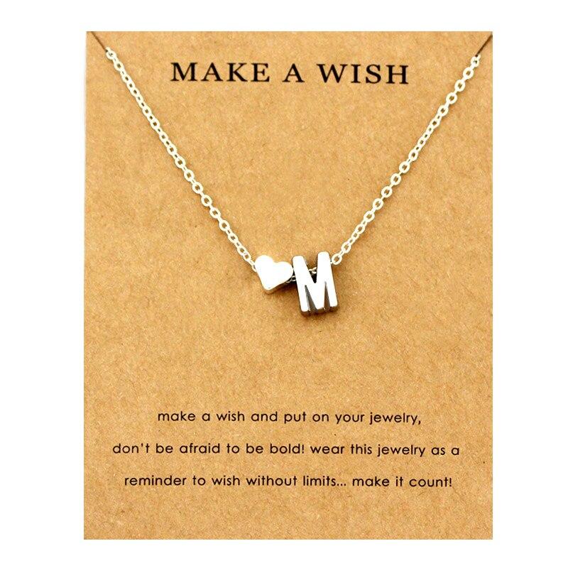 Сердце начальные Подвески ожерелье s персонализированное ожерелье с буквами Имя ювелирные изделия для женщин мужчин аксессуары подруги любовника пара подарок - Окраска металла: NE1667