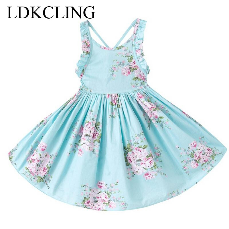 Hot baby meisjes jurk merk zomer strand stijl bloemenprint partij - Kinderkleding