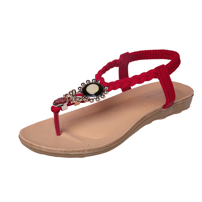 Size35-40 2018 Spring Women Sandals Gemstone Beaded Slippers Summer Beach Sandals Women Flip Flops Ladies Flat Sandals Shoes covoyyar 2018 fringe women sandals vintage tassel lady flip flops summer back zip flat women shoes plus size 40 wss765