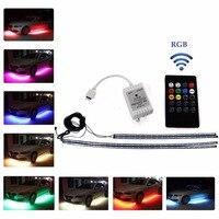 Ralbay 4pcs RGB Remote Control LED Undercar Neon Strip Underbody Under Car Body Light Kit Car