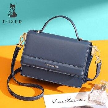 39207c1717cd FOXER Брендовые женские стильные сумки через плечо женская сумка с откидным  верхом кожаные плечевые ремешки женские