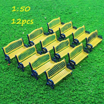 12pcs Model Train Platform Park Street Seats Bench Chair Settee 1:50 O Scale ZY34050 courtyard chairs railway modeling