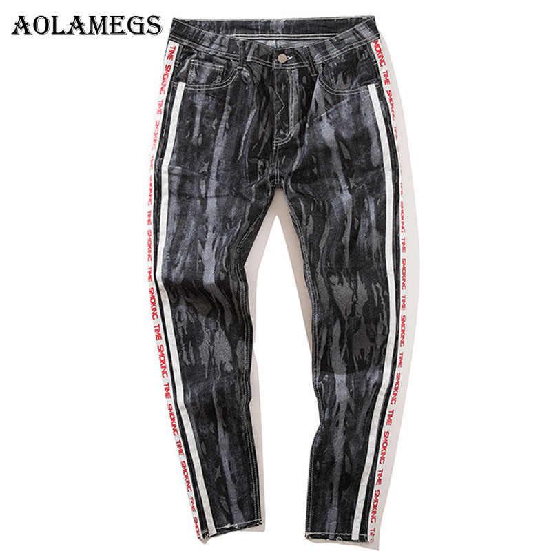 Pantalones Aolamegs para hombre Pantalones de letras laterales pantalones  de pista de camuflaje cintura elástica moda c1a4aa2e5fa