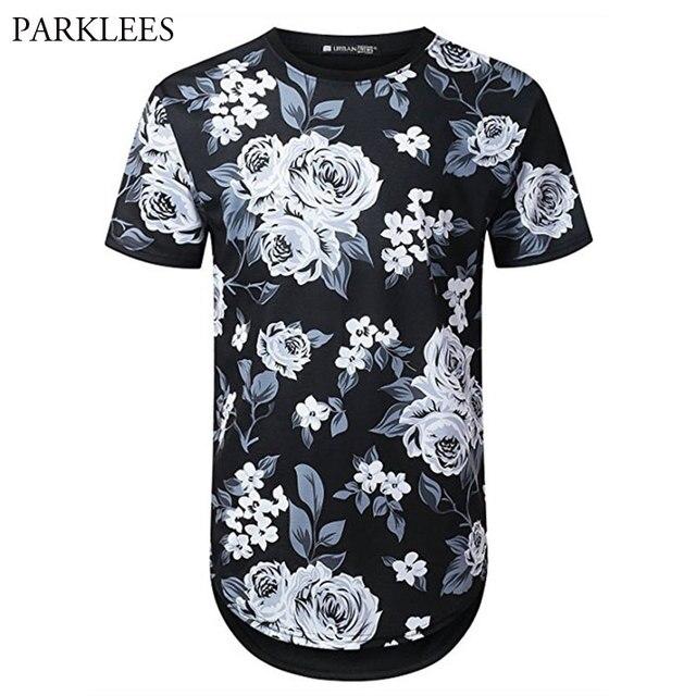 fb36bac83219 Summer Brand Flora Design T-shirt Men 2018 Hip Hop Short Sleeve Men Jersey T  Shirts Casual Hipster Slim Fit Tops Tee Camisetas